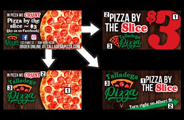 Examples of digital billboards for Talladega Pizza.