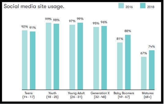 Social media site usage chart